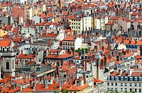 View on the tenement houses roofs and chimneys in Lyon, France