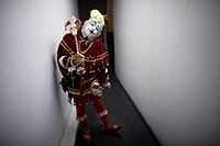 A buffoon clown poses at the 16th International Clown Convention: The Laughter Fair organized by the Latino Clown Brotherhood, in Mexico City, October...