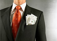 Businessman with Money in His Suit Pocket