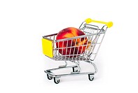 Shopping cart with a large peach