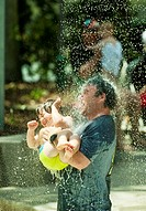 Water fun in the water feature park on the banks of the Brisbane River in Brisbane, Australia