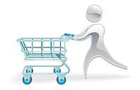 Metallic cartoon mascot character shopping cart trolly concept