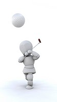 3D Render of a man playing golf