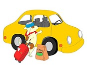 Dog with suitcase standing next to yellow car, illustration