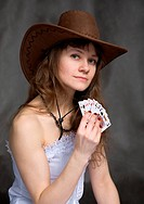 Portrait girl with a playing_cards