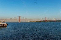 Portugal, Europe, Lisbon, Lisboa, Belem, bridge, Ponte 25 de Abril, Tejo, river, flow, architecture, place of interest, landmark, tourism, river, flow...