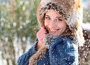 woman snow winter portrait