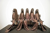 Eva Aeppli work ´Five widows´ created in 1972, presented in Jean Tinguely Museum in Basel, Switzerland