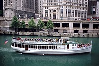 Architectural Sightseeing Boat, Chicago River, Chicago, Illinois, USA´