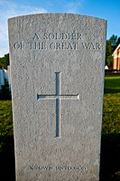 Close up of soldier's headstone