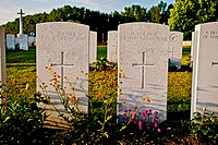 Close up of soldier's headstones