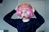 Young Girl Wearing Pink Wig and Tiara