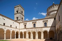 cloister, benedictine abbey of st  michael the archangel, montescaglioso, province of matera, balislicata, italy, europe
