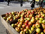 Crates of Apples at an Outdoor Market