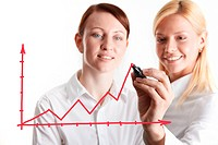 Two businesswomen drawing financial charts