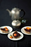 Chocolate cake with kumquats for Christmas
