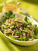Soba noodle salad with soya beans Asia