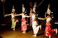 Apsara dancers performing a traditional dance, Siem Reap,Cambodia