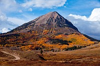 Gothic Mountain is visible from Washington Gulch Road near Crested Butte, Colorado
