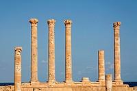 Roman columns of the Antonine temple at Sabratha, Libya