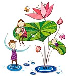 Family playing with lotus flower (thumbnail)