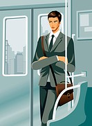Business man travelling in train