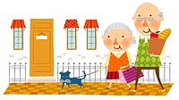 Elderly couple arriving home from shopping (thumbnail)