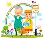 Elderly couple travelling r