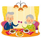 Elderly couple at dinner