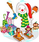 Two girls sitting on sleds with a snowman near Christmas presents