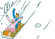 Couple riding on a sled and smiling