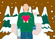 Portrait of a man holding a heart shaped balloon with a snow covered house in the background