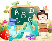 Portrait of boy with Blackboard and Alphabets (thumbnail)