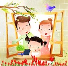 Portrait of family with one child at window (thumbnail)