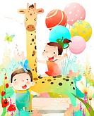 Two children making celebration