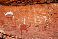 Painted figures and animals, rock art in the Akakus Mountains, Sahara Desert, Libya