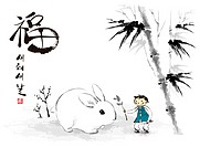 Vector Chinese Ink Painting for the Year of Rabbit (thumbnail)