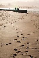 Footprints in sand, Millers Beach in Port Elizabeth, Eastern Cape Province, South Africa