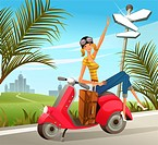 Woman sitting on motor scooter with luggage by signpost (thumbnail)