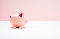 Pink piggy bank, studio shot