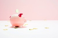 Pink piggy bank and falling coins, studio shot (thumbnail)