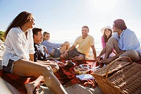 Group of friends having picnic on beach