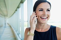 Portrait of businesswoman talking on phone