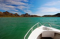 Bow of boat approaching Zoe Bay, Hinchinbrook Island National Park, Queensland, Australia  No PR
