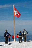 Swiss Flag on the Jungfrau Plateau in snow - Bernese Oberland Alps - Switzerland