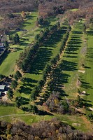 Golf course sand traps, aerial, Lexington, Massachusetts, USA                                                                                         ...