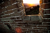 Sunset as seen through the Great Wall of China.
