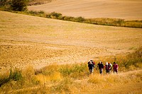 Pilgrims walking at the village of Itero del Castillo at Burgos province Castilla y Le&#243;n, Spain. Camino de Santiago pilgrimage way