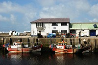 Commercial fishing boats at the quayside, Aberystwyth, Wales