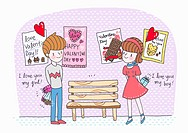 A boy and a girl on valentine day